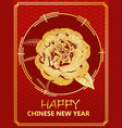 chinese new year gift card with golden peony form vector image vector image