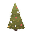 christmas tree decorated with toys balls garland vector image