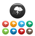 cloud thunder icons set color vector image vector image