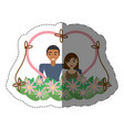 couple love heart flowers decoration shadow vector image vector image