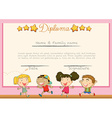 Diploma with children background vector image