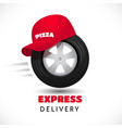 express delivery icon wheel and red cap vector image