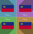 Flags Liechtenstein Set of colors flat design and vector image