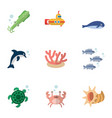 flat icon marine set of tortoise tuna cancer and vector image vector image