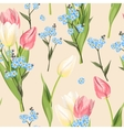 Forget me not and tulip seamless vector image
