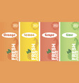 fresh juice labels vector image vector image