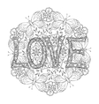 Hand drawn monochrome letters LOVE text and vector image