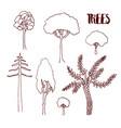 hand sketch trees set hand drawn isolated vector image vector image