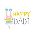 happy baby logo colorful hand drawn vector image vector image