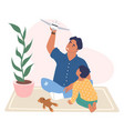 happy father and son playing with plane toy vector image vector image