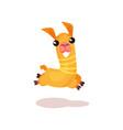 happy funny llama alpaca cartoon character jumping vector image