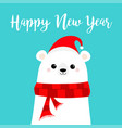 happy new year candy cane polar white bear cub vector image vector image