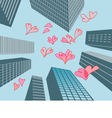 hearts and buildings vector image vector image