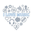 i love music heart - concept outline vector image