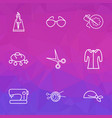 icons line style set with sewing machine vector image