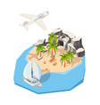 Isometric island dream holiday vacation at