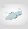 isometric qatar map with city names and vector image