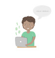 kids coding happy boy sitting at his desk and vector image