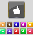 Like Thumb up icon sign Set with eleven colored vector image vector image