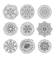 Linear doodle flower set vector image vector image