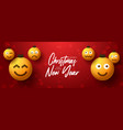 merry christmas yellow balls with cute face vector image vector image