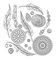 monochrome set of tribal decorative objects vector image vector image