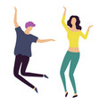 moving man and woman in casual clothes vector image vector image