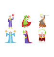 old wizard characters set male magician or vector image vector image