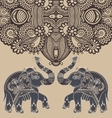 original indian pattern with two elephants for vector image vector image