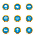 overhead icons set flat style vector image vector image