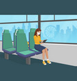 pretty girl in surgical mask goes bus vector image vector image
