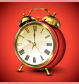 red retro style alarm clock on red background vector image vector image