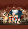 scene with many kids in cave at night vector image vector image