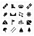 Set icons of skiing and snowboarding vector image