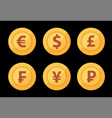 set of golden world great currency symbols vector image