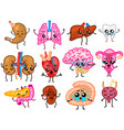 set of organs cute happy human smiling vector image