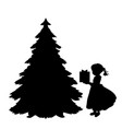 silhouette girl puts gift under christmas tree vector image