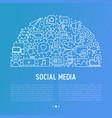 social media concept in half circle vector image