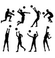 volleyball player black silhouette set isolated on vector image