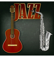 acoustic guitar and saxophone on abstract grunge vector image vector image