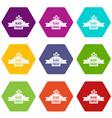 black friday ribbon icon set color hexahedron vector image vector image