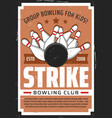 bowling sport club kids entertainment center vector image vector image