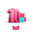 bright pink voluminous 3d inscription 10 off vector image vector image