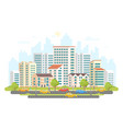 busy street life - modern colorful flat vector image