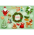 Christmas and New Year traditional symbol set vector image