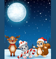 christmas animals in the winter night background vector image