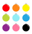 christmas ball set cute colorful rainbow round vector image vector image