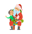 christmas winter holidays santa claus and kid vector image vector image