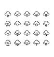 cloud computing line icons network data transfer vector image