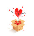 cute red heart shape balloon jumping out a vector image